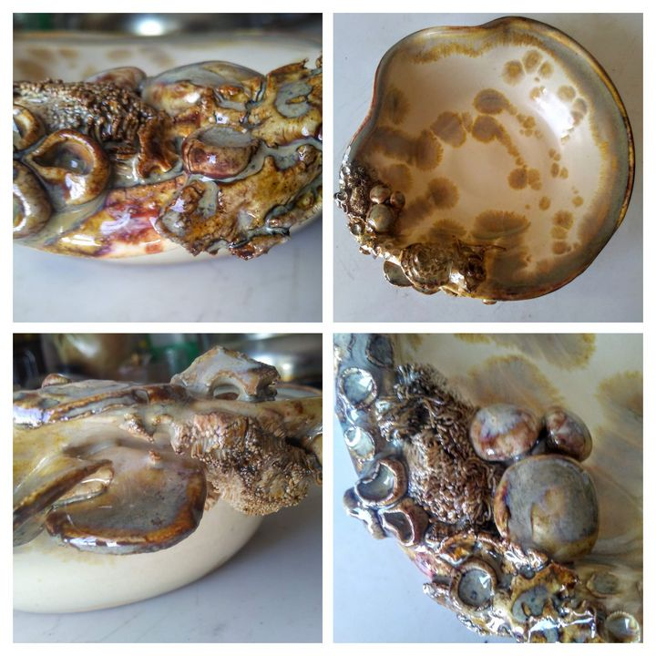 """Rivers Edge"" ~ Lichen dish - Charlotte's Web creations"