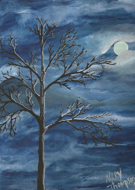 Tree in the moonlight - Mary's Gallery