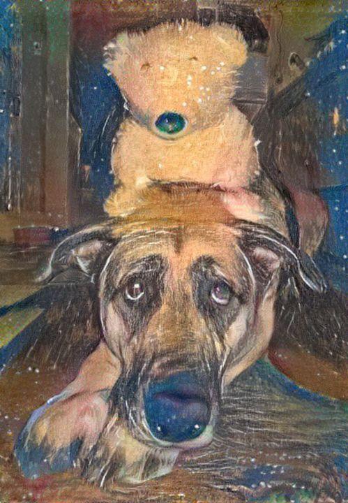Dog with teddy bear - Alex Ovechkina