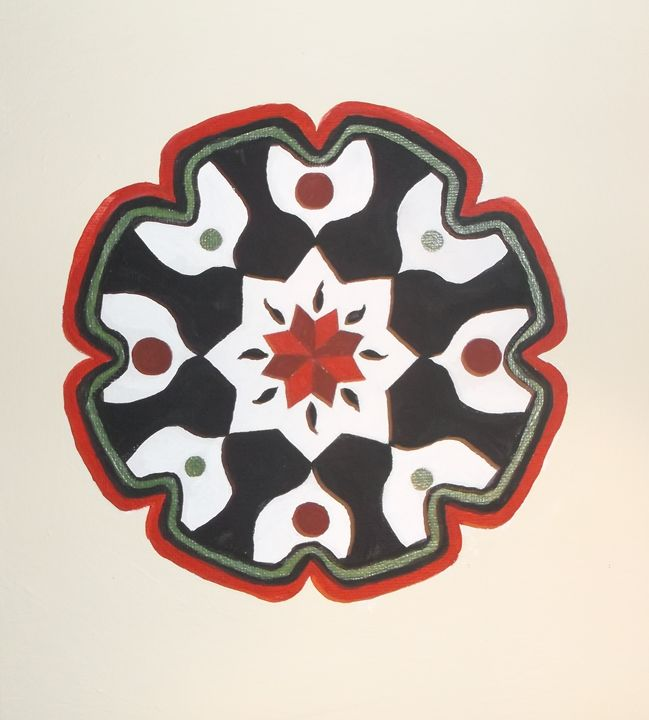 Mandala, green and red - Bhean Spiorad Art