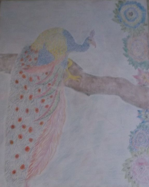 Peacock in a tree - Bhean Spiorad Art