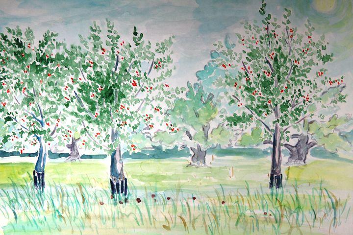 Cherry Trees (Watercolor) - Greg Thweatt