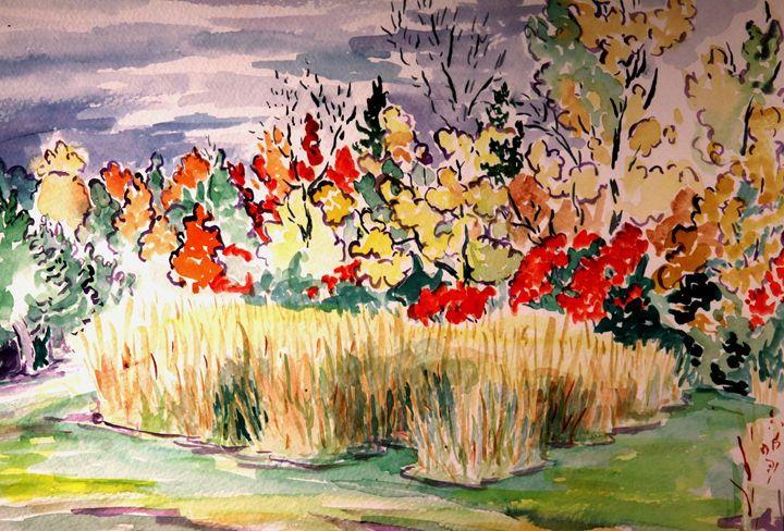 Hayfield and Foliage 2 (Watercolor) - Greg Thweatt