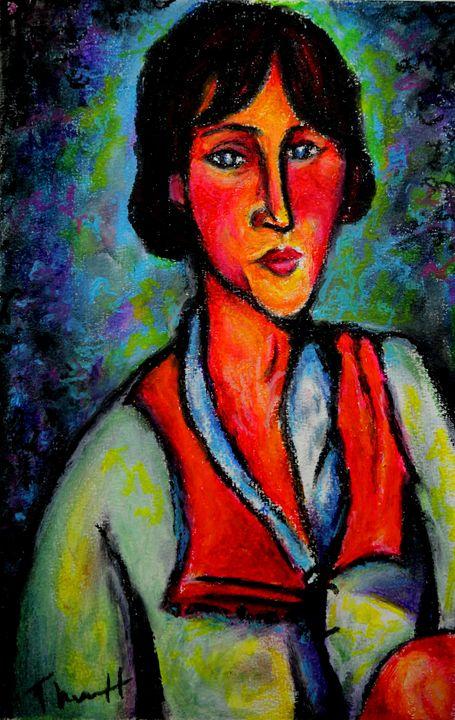 Woman Sitting With Red Scarf - Greg Thweatt
