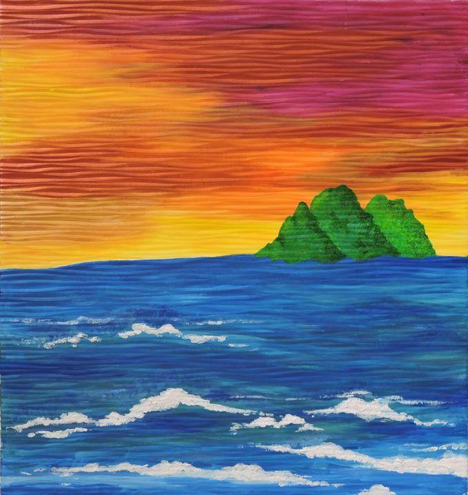 Shimmering Sunset over Waves - Nicole Burnett