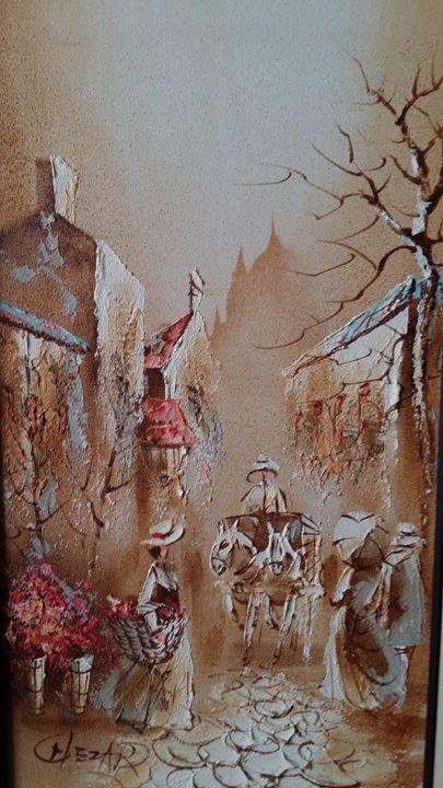 Boris Chezar oil and sand painting - Timeless Art Gallery