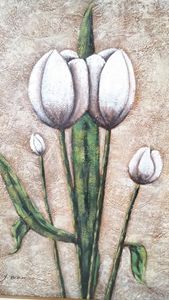 White long stemmed Tulips