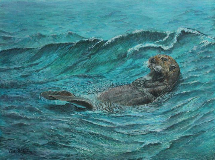It's My Otter Day Off.... Painting - Bob Williams Fine Art