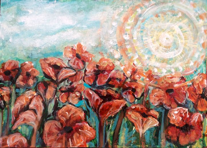 Orange poppy field - Cheryle Bannon