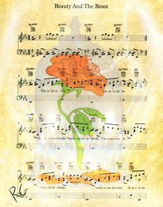 Beauty and the Beast Rose Music Page - RGIllustration