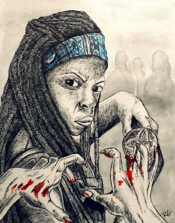 Walking Dead Michonne Portrait - RGIllustration