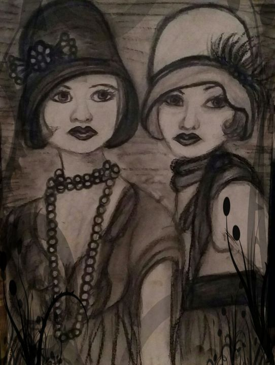 Charleston girls - Modern with a twist painting and sketches
