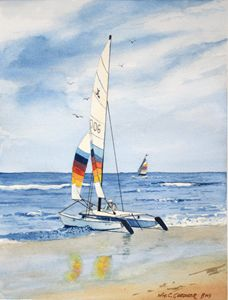 Hobie Cat Waiting to Sail - Gardner Watercolors