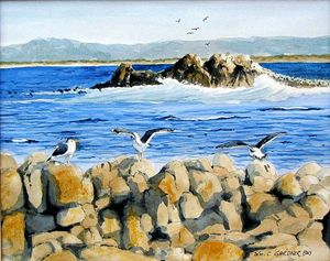 Monterey Coastal Scene - Gardner Watercolors