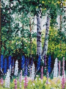 Lupines in Finland - Gardner Watercolors