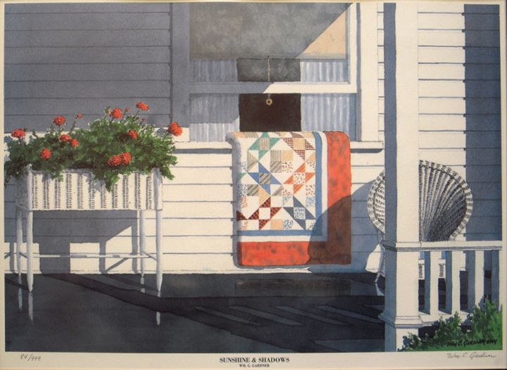 Quilt Scene - Sunshine & Shadows - Gardner Watercolors