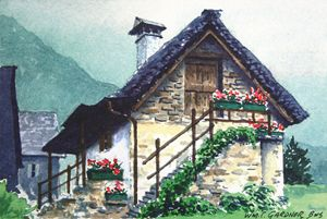 Cottage in Switzerland - Gardner Watercolors