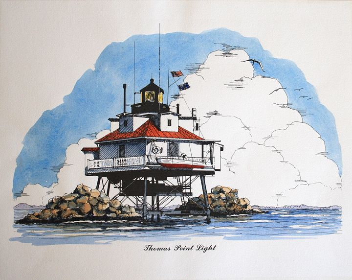 Chesapeake Bay Lighthouse, Thomas Pt - Gardner Watercolors