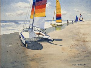 Hobie Cat Beach - Gardner Watercolors