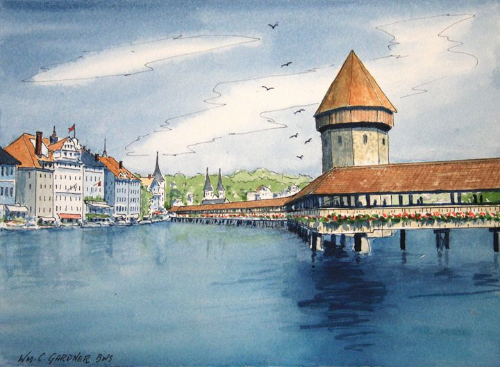 Chapel Bridge - Lucerne Switzerland - Gardner Watercolors