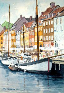 Copenhagen, Denmark - Nyhavn Canal - Gardner Watercolors