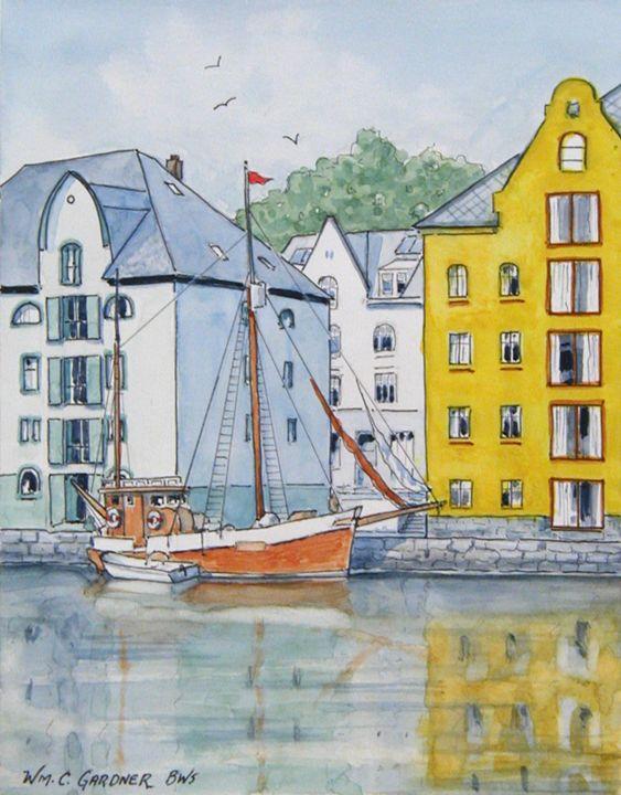 Alesund Norway - Gardner Watercolors
