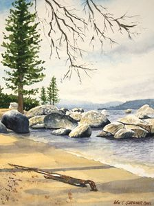 Lake Tahoe beach - Gardner Watercolors