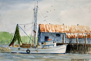 Shrimp Boat Amelia Island Florida - Gardner Watercolors