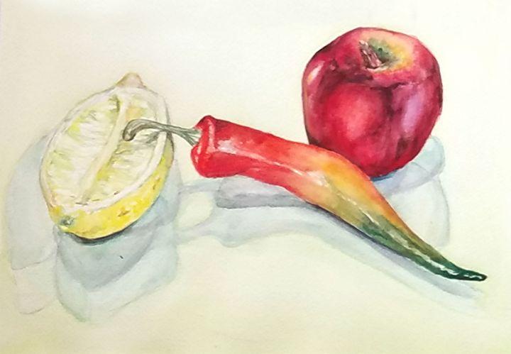 Pepper, Apple and Lemon - Sun Rising Art Studio