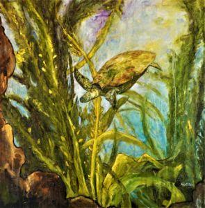 Turtle Diving - Paintings by Michael Hartstein