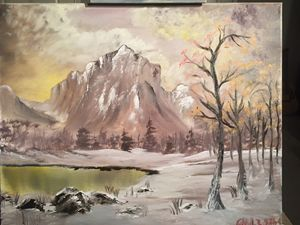 Signs of winter oil painting