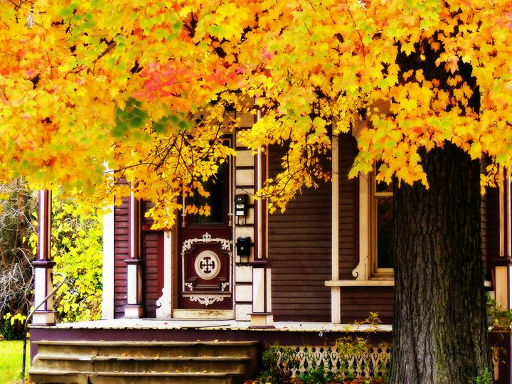 Fall Canopy Over Victorian Porch - Rodney Williams