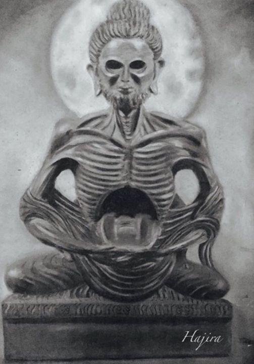 Fasting Budha - Paintings by Hajira