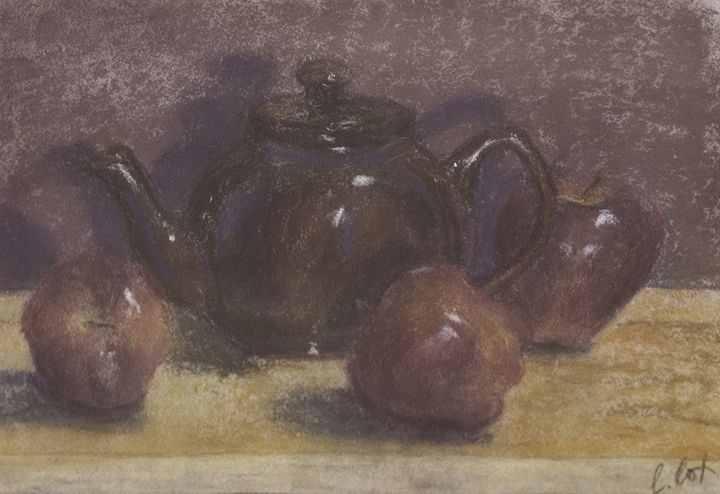 Teapot & Apples - Claudia Cox Art