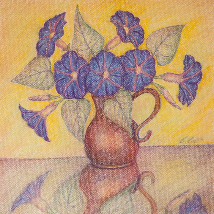 Morning Glories, Yellow Background - Claudia Cox Art