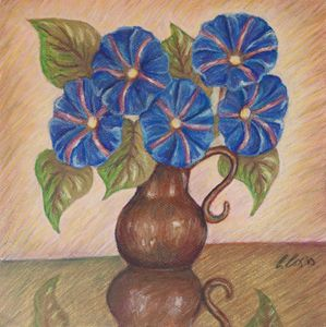 Morning Glories with Pink Background - Claudia Cox Art
