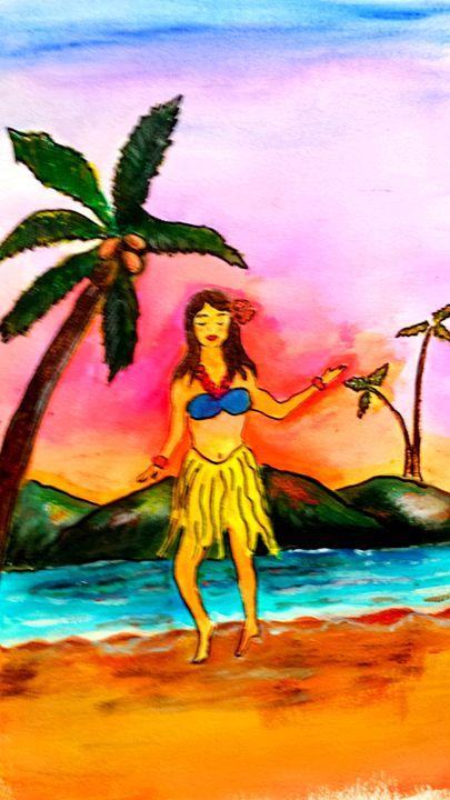 hula girl - Lori's paintings