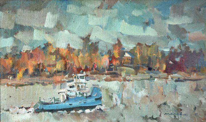 Autumn on the Volga river - Nikolay Malafeev