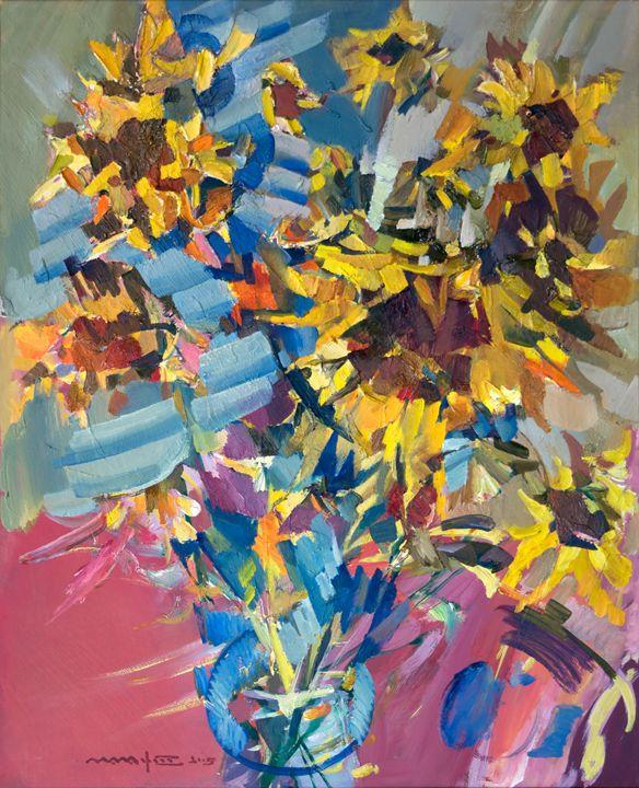 Sunflowers on Blue - Nikolay Malafeev