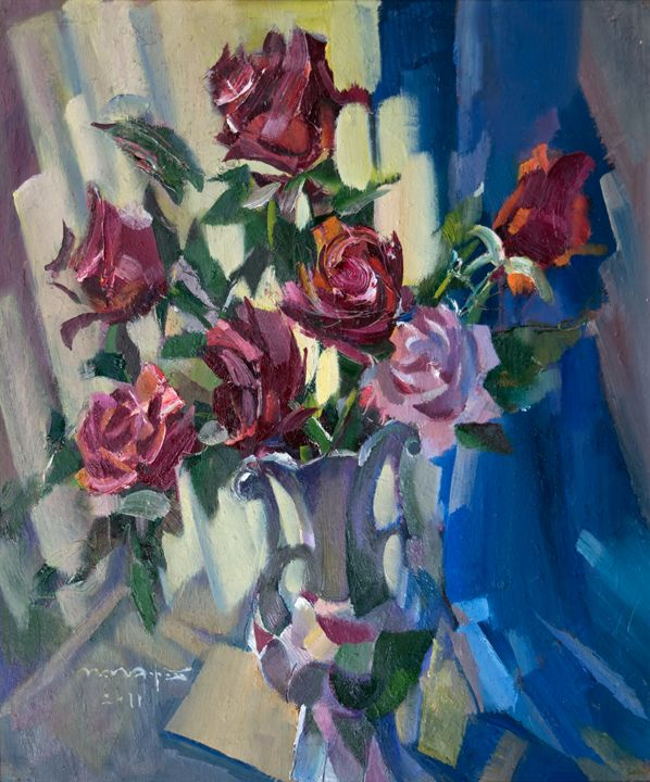 Roses On Blue - Nikolay Malafeev