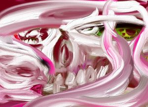 Pink Swirls and skull faces