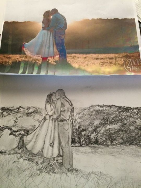 Wedding and Engagement Drawings - Bella's Pictures and Baubles - Photo into Art