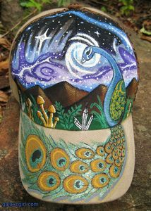 Hand painted Space Peacock Hat