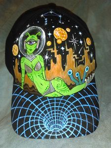 Hand painted Sexy Alien Space Hat