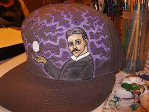 Nikola Tesla Handpainted hat