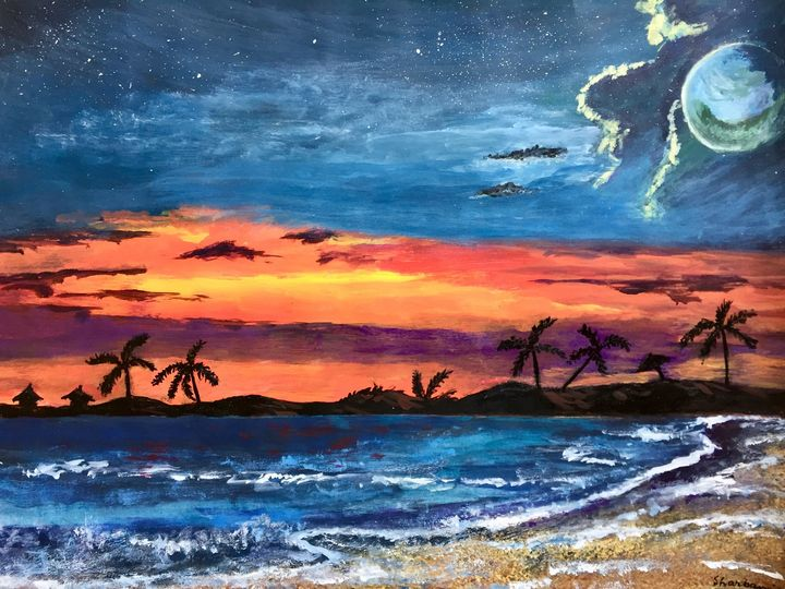 Sunset at the beach. - Sharbani's art