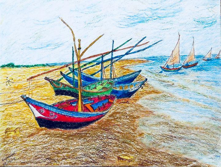 Fishing boats - Sharbani's art
