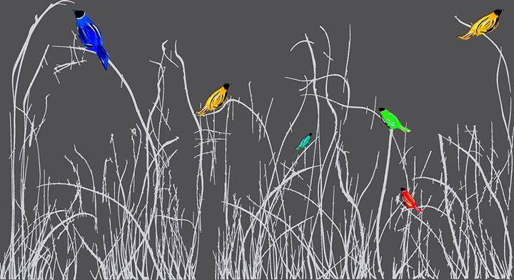 Reeds with Birds - Glen Josselsohn Contemporary Art