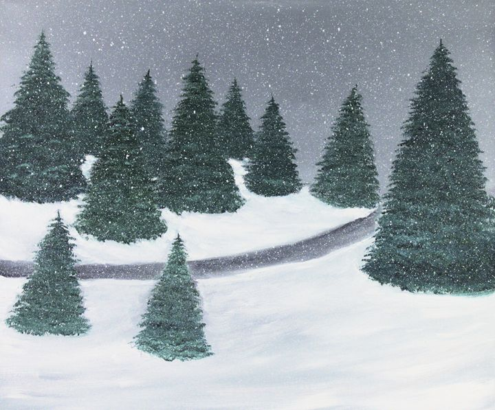 Snowfall on the trail - Richersd Art Studios, LLC