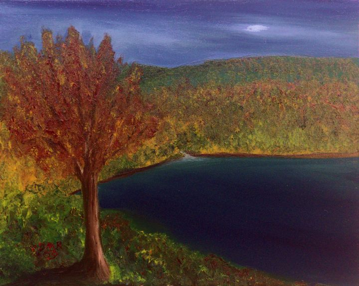 A lake in autumn - Richersd Art Studios, LLC